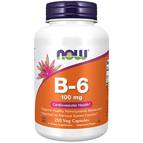 NOW Supplements, Vitamin B-6 (Pyridoxine HCl) 100 mg, Cardiovascular Health*, 250 Capsules