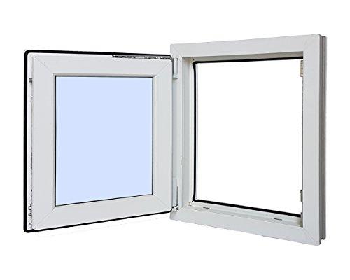 Ventanastock - Finestra singola in PVC, apertura lato sinistro, sistema anta-ribalta, con vetro Carglass, dim.: 500x600