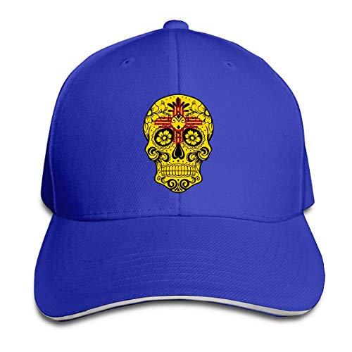 Tttyy Sombreros de béisbol con Punta de sándwich Ajustable Sugar Skull de la Bandera de Nuevo México