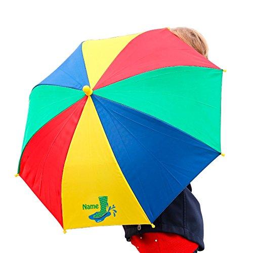 Striefchen® Regenschirm für Kinder mit grünem Gummistiefel und Namen bedruckt