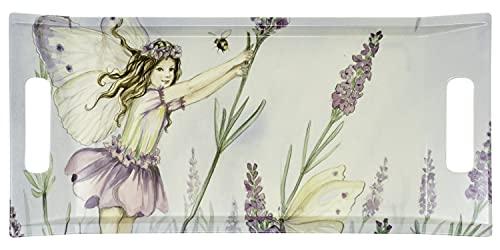 Lashuma Bandeja de café lila con diseño de elfos, bandeja mediana grande, 41 x 19 cm, bandeja para fiesta con asas, color lila