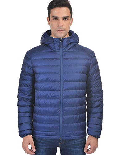 Men's Hooded Packable Down Jacket Lightweight Water-Resistant Quilted Puffer Insulated Winter Down Coat Outerwear Royal Blue XXXXL