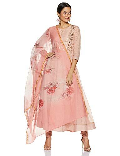 BIBA Women's Synthetic Anarkali Salwar Suit Set (SKD655142_Peach_2XL (42))