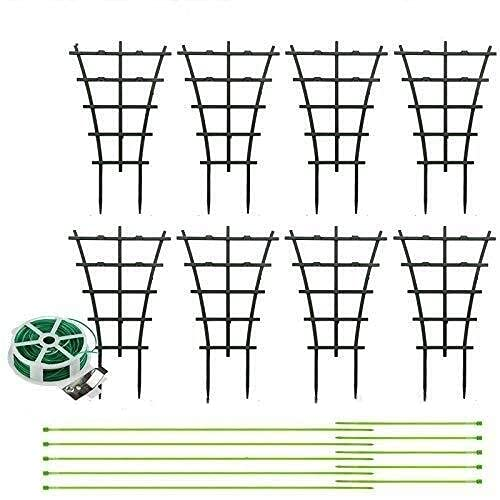 AUX 8 pièces de Support de Plantes de Jardin Treillis en Pot jardinières Cages à Plantes 10 Attaches de câble et Une Attache à Mouche 30m pour Plantes grimpantes Support de Fleurs