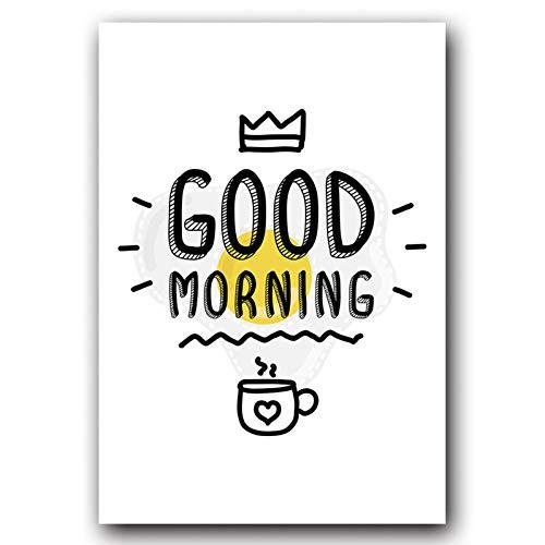 RKSZD Leinwand Gemälde Einfache Guten Morgen Milch Englisch Ist Der Chef Satz Leinwand Kunst Malerei Abstrakte Druckplakat Bild Wand Dekoration
