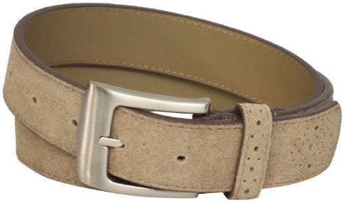 Stacy Adams Men's 32mm Leather Belt with Perforated Tip and Keeper, Sand Suede, 36
