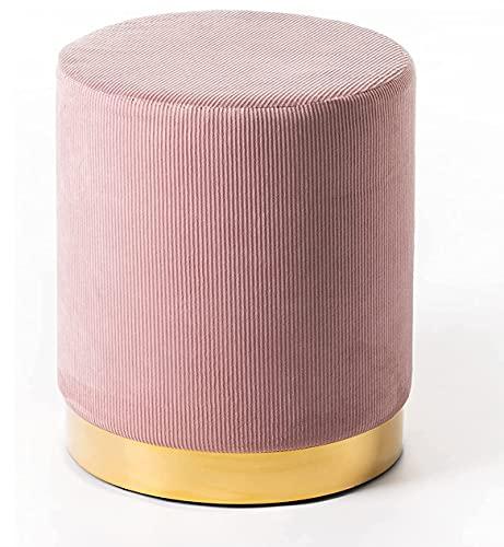Norbe Flu Puff Taburete de terciopelo rosa envejecido plisado con base dorada brillante Modern Vintage (Rosa antigua)