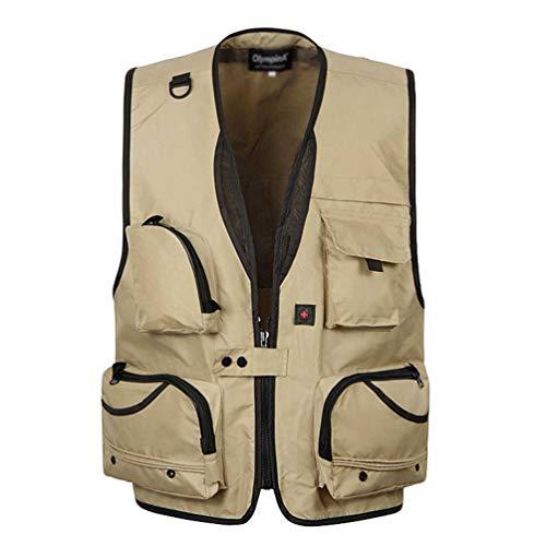 Guiran Herren-Weste Mit Vielen Praktischen Taschen,Funktionale Arbeitsweste,Outdoor-Weste Kaki 4XL