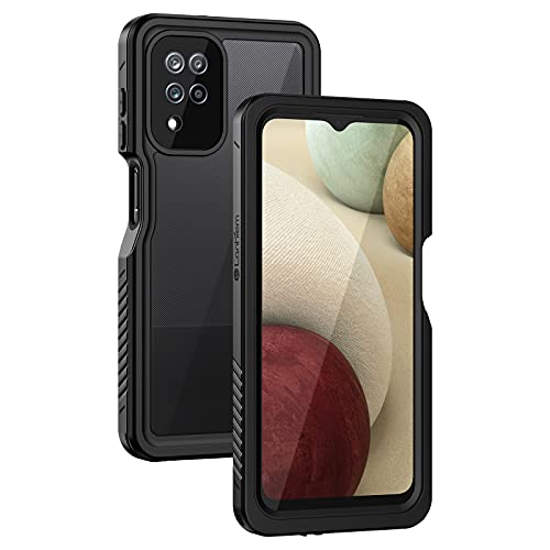 Lanhiem Coque Samsung A12, [IP68 Étanche & Antichoc] 360 Protection Integrale Double Renforcé Waterproof Etui Antipoussière Incassable Housse Compatible avec Samsung Galaxy A12, Noir