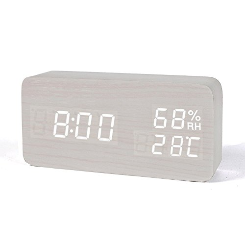 FiBiSonic LED Digitaler Wecker Tischuhr Holz mit Batterien und USB in Vier Farben, Multifunktionaler Wecker mit DREI Alarme, Sprachsteuerung, Datum, Temperatur und Luftfeuchtigkeit,Elfenbeinweiß