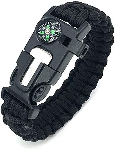 Outdoor Survival Armband Multifunktionales Survival Kit mit Feuerstein, Kompass, Pfeife und Fallschirmschnalle, für Wandern, Camping, Bootfahren, Notfall oder andere Outdoor-Aktivitäten