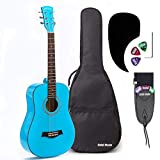 3/4 Size (36 Inch) Acoustic Guitar Bundle Junior/Travel Series by Hola! Music with D'Addario EXP16 Steel Strings, Padded Gig Bag, Guitar Strap and Picks, Model HG-36LB, Light Blue