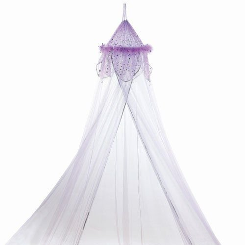 Purple Feather Metallic Moon and Star Trimmed Girls Bed Canopy