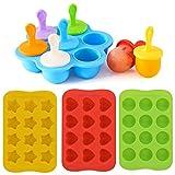 Molde para helado, 7 moldes redondos para paletas en una avanzada máquina de hielo de silicona, moldes para paletas para niños y adultos.