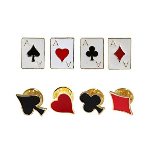 Fenical 8PC Mode Badge Persoonlijkheid Joker Plezier Rood Hart Plum Blackberry Vierkant Speelkaarten Kraag Pin kraag (Random stijl)