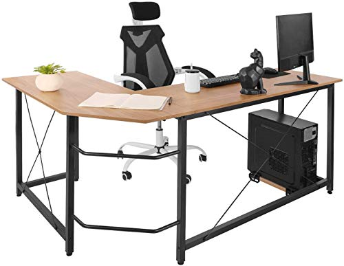 Dawoo Escritorio En Forma De L, Gaming Computer Corner Desk Pc Studio Table Workstation para Home Office, 150 Cm (L) * 60 Cm (W) * 75 Cm (H) (Color Haya)