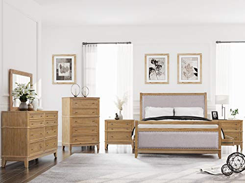 SOFTSEA 6-Piece Furniture Set for Bedroom, Modern Bedroom Sets with Wood Bed Frame with 4 Drawers, 2 Nightstands, 6-Drawer Double Dresser, 6-Drawer Chest and Mirror, Queen Size