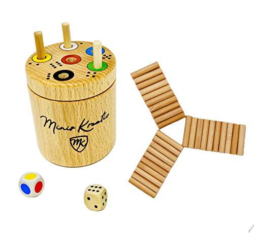 Ab in die Walzen- Box Spiel rund von Minis Kreativ | Massivholz Buche|Spaß für die ganze Familie und für Kinder ab 3 zum Lernen von Zahlen und Farben|Würfelspiel|Reisespiele für unterwegs | Lernspiel