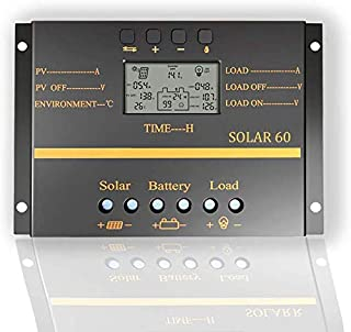 BXE 60A Solar Charge Controller 12V 24V LCD Display USB Output Solar Panel Controller Multip Circuit Protection Solar Charger Discharge Regulator for Lighting System,with Dark Activated Function