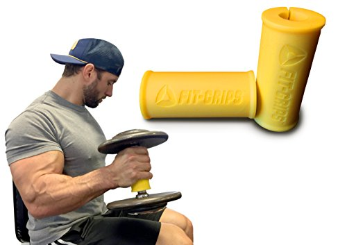 Core Prodigy Fit Grips Thick Bar Bodybuilding Training (Yellow 2 Inch)