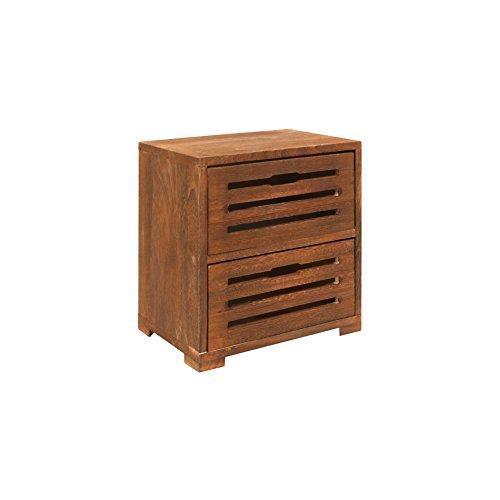 Rebecca RE6087 commode met 2 laden, nachtkastje, hout, bruin, voor badkamer, woonkamer, slaapkamer, afmetingen: 36 x 35 x 24 cm (H x B x D)