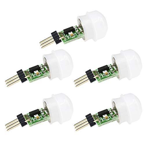 Aideepen 5PACK IR Menschensensor AM312 Mini-Detektormodul HC-SR312 Pyroelektrischer Infrarot-PIR-Bewegungsmelder DC 2,7 bis 12 V für Arduino 2 A1U2 Mit Dupont-Draht