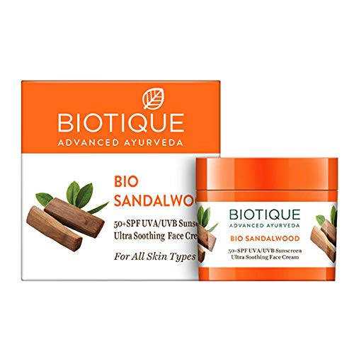 Biotique Bio Sandalwood Face & Body Sun Cream Spf 50 Uva/Uvb Sunscreen For All Skin Types In The Sun Very Water Resistant, 50gm