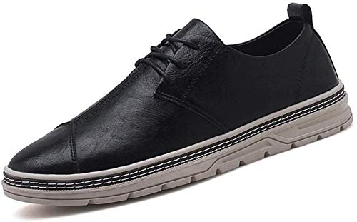 LXF JIAJU Zapatos de Hombre Zapatilla De Deporte for Los Hombres Deportes Atan for Arriba Estilo De Cuero De La PU del Dedo del Pie Cómodo Ronda De Estilo Británico (Color : Black, Size : 39EU)