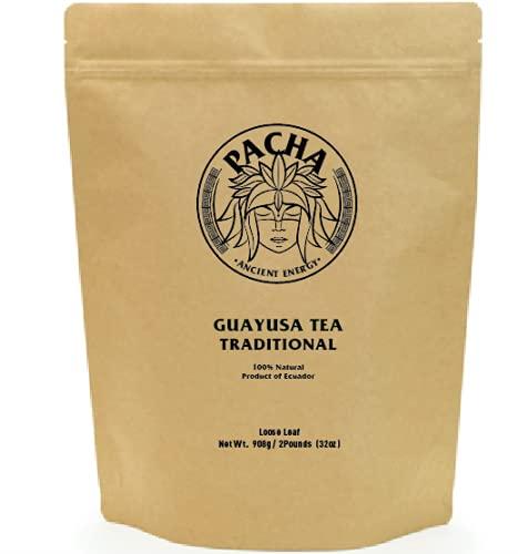 GUAYUSA LOOSE LEAF TEA by PACHA - 2 Pounds (32oz)   Organic Leaf   High Natural Caffeine   Clean & Balanced Energy   Healthy Energy   Alternative to Coffee, Yerba Mate, Yaupon and Green Tea   ( Loose Leaf)