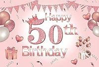 パーティーのための新しいピンク50の背景7x5ft幸せな50歳の女性の誕生日の写真の背景クラウンケーキテーブルの装飾とピンクの輝く50女性の肖像画写真撮影の小道具ビニールの壁紙
