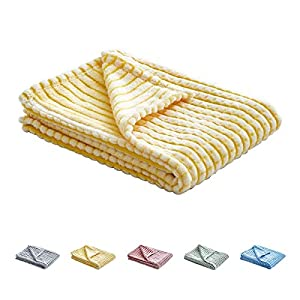 Uozzi Bedding Flannel Baby Toddler Blanket,Ultra Soft Cozy Flannel Toddler Blanket, Breathable and Warm Baby Blanket,Yellow with White,39×27 inch