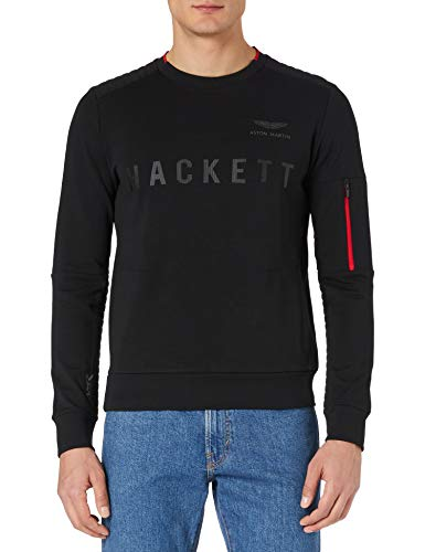 Hackett London Amr Pkt Crew Jersey, 999 Negro, XL para Hombre