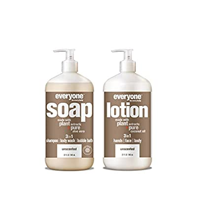 Everyone Unscented Combo Pack: 3-in-1 Soap Shampoo, Body Wash, and Bubble Bath and 3-in-1 Lotion for Hands, Face and Body