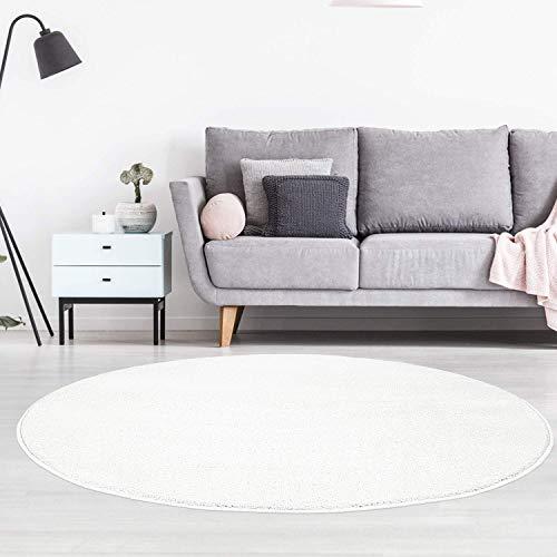 carpet city Teppich Rund Einfarbig Uni Flachfor Soft & Shiny in Weiß für Wohnzimmer; Größe: 120x120 cm rund