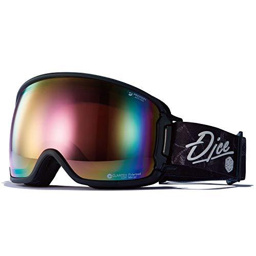 DICE(ダイス) スキー スノーボード ゴーグル BK01361MBK くもり止めゴーグル 眼鏡使用可能 バンク BANK 偏光レンズ ブラック/パステルピンクミラー×偏光ピンク
