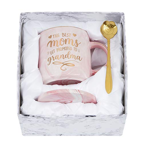 The Best Moms Get Promoted to Grandma Mug, Mother's Day Gifts for Grandma, Best Grandma Gift from Grandson Granddaughter, Funny Coffee Mug for Grandma, Grandma Mugs 12Oz with Box and Spoon Coaster