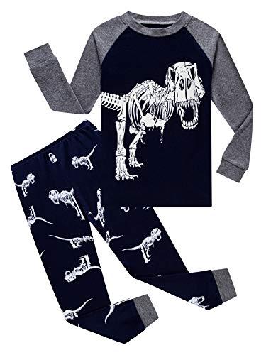 Dinosaur Little Boys Long Sleeve Glow-in-The-Dark Pajamas Sets 100% Cotton Pyjamas Toddler Kids Blue Pjs Size 7