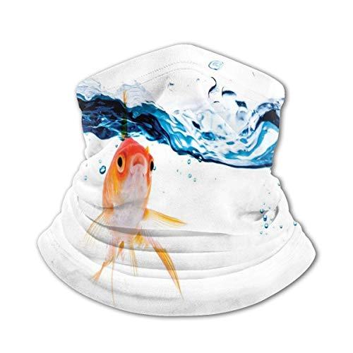 JONINOT Bufanda protectora para el cuello Máscara a prueba de viento-Goldfish nadando debajo de la superficie del agua clara Pecera Movimiento líquido Estilo abstracto