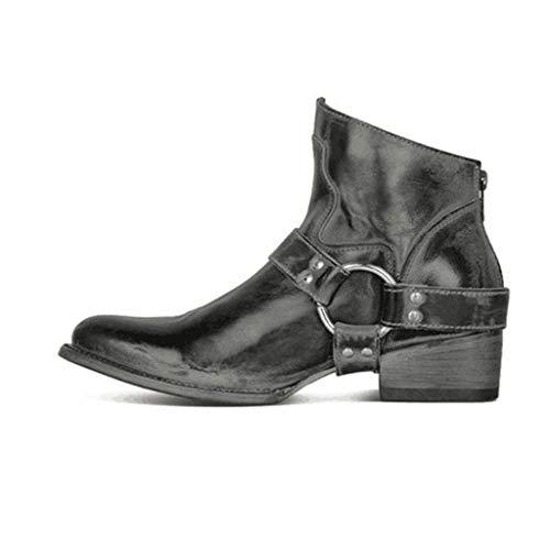 UMore Damen Cowboy Boots Western Stiefeletten Biker Boots Damen, Ankle Boots in Veloursleder Optik, Stiefeletten in schwarz mit halbhohem Absatz, Winterstiefel mit Riemen am Kurzschaft
