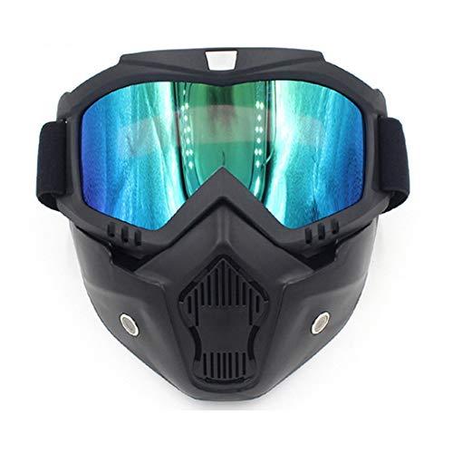Delleu Gafas de Moto con máscara Desmontable,Motocross Ciclismo Moto Carreras Gafas de Goggle,Ajustable Antideslizante Correa Retro Harley Casco Gafas