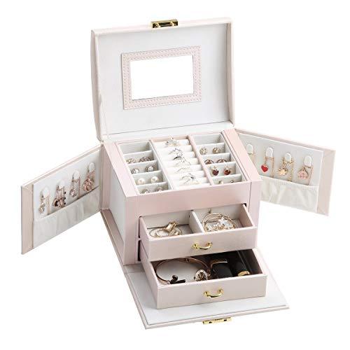 CREATOR Caja de joyería grande para collar y aretes, anillos, organizador de joyas, color rosa, caja de regalo para mujeres y niñas