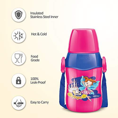Milton Steel Whizz 400 Insulated School Kids Bottle with Inner Steel, 400 ML, Pink