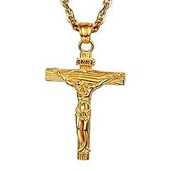 Idea Regalo - PROSTEEL Collana Pendente Crocifisso Cindolo di Croce Gesù INRI Cristo, Placcato Oro 18K, Catena Regolabile, Gioiello Cristiano Religioso, Oro (Confezione Regalo) Default