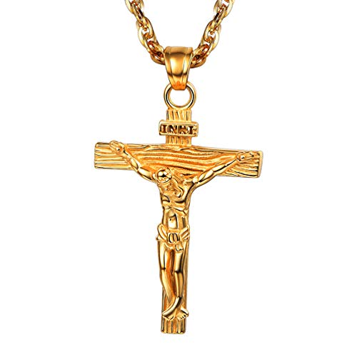 PROSTEEL Crucifix Cross Pendant Necklace for Men 18K Gold Plated Chain Inri Jesus Cross Religious Confirmation Gift