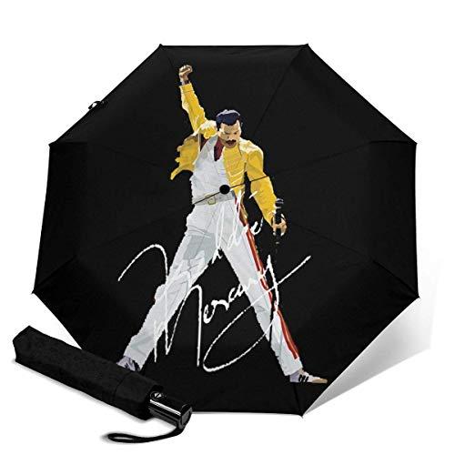 Freddie Mercury - Paraguas automático triple plegable, 038, color negro