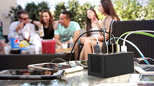 Sabrent Ladegeräte - [UL-zertifiziert] 60 Watt (12 Ampere) 10-Port-Familie-Büro-große Desktop USB Schnellladegerät. Smart-USB-Ladegerät mit Auto Detect Technologie für das iPhone 6 5s 5c 5, iPad Air mini, Galaxy S4 S5, Note 3 2, die neue HTC One (M8), Nexus und mehr [Schwarz] (AX-TPCS)