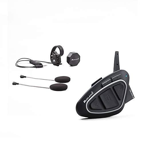 Midland BT Next Pro Ultra Range Interfono Moto Casco Bluetooth Senza Fili Singolo, Intercom in Modalità Conference Fino a 8 Persone, Portata 1.6 km, Hi-Fi Speaker, BTT Button, Soppressione del Rumore