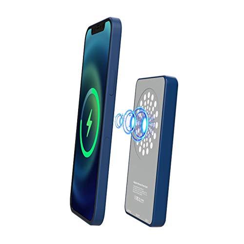 Teckey Caricabatterie Portatile Wireless Power Bank, Power Bank di Ricarica Wireless Veloce da 5000mA 15W, Adattatore per Caricabatterie Magnetico Intelligente Compatibile con iPhone 12 Mini PRO Max