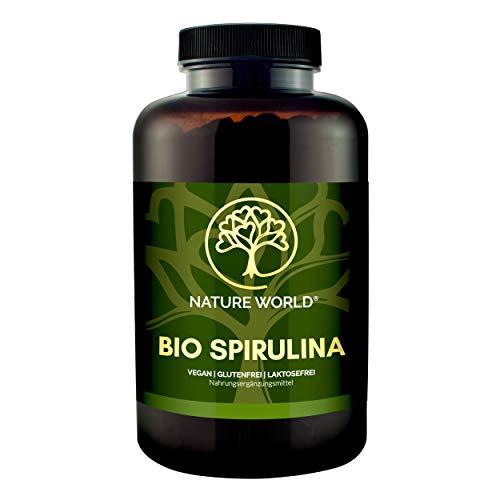 NEU! 600 Stück. BIO SPIRULINA Presslinge je 500mg – Nahrungsergänzung hochdosiert, vegan, natural, Chlorophyll, organic, Superfood, laktosefrei, NATURE WORLD®