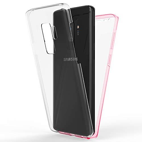 NALIA 360 Grad Hülle kompatibel mit Samsung Galaxy S9 Plus, Full-Cover Silikon Bumper mit Bildschirmschutz vorne Hard-Hülle hinten, R&um Handyhülle Doppel-Schutz, Dünne Handy-Tasche, Farbe:Rosa